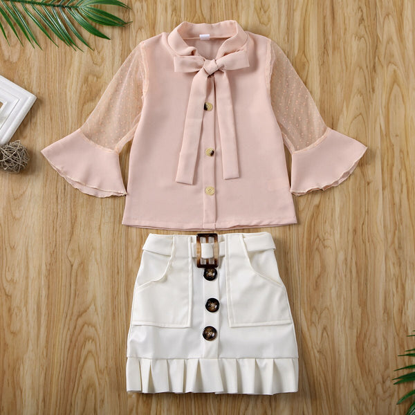 Baby Girl Coming Home Outfit Set Chiffon Bow Long Sleeve T shirt + Ruffles Pu Leather Skirts First Birthday Outfit Girl