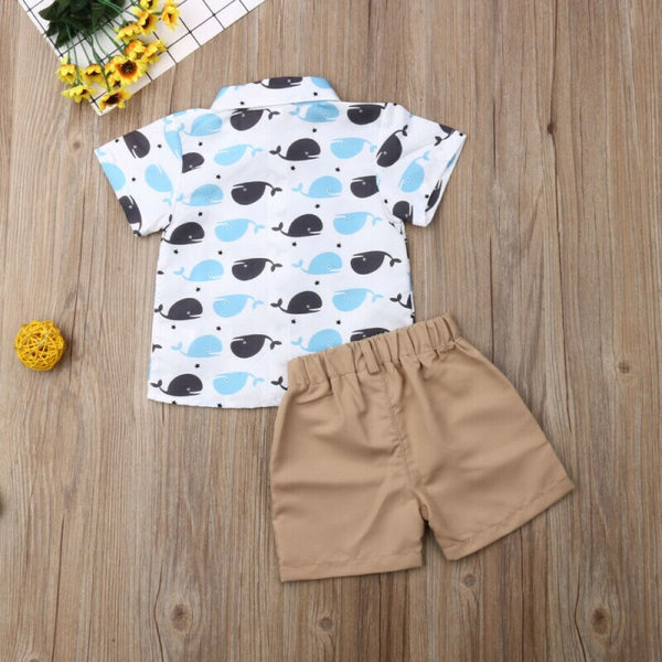 First Birthday Outfit Boy Set Animal Whale Shirt Tops+Short Baby Boy Coming Home Outfit