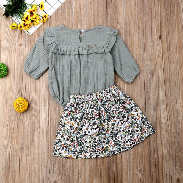 Baby Girl Coming Home Outfit Set Autumn Spring Long Sleeve Ruffles Romper + Flower Skirts Baby Costumes For Girl