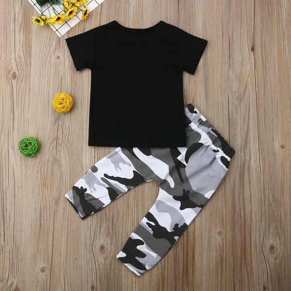 2PCS/SET Baby Boys Clothing T-Shirt Tops+Camouflage Pants Coming Home Outfit Boy