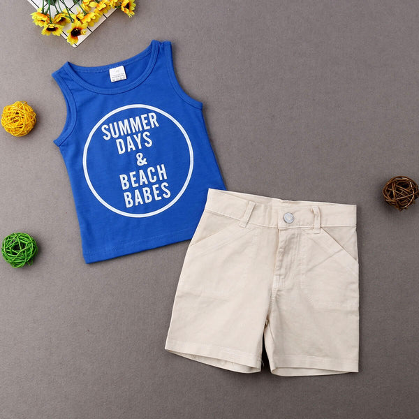 Baby Boys Clothing Set Blue Letter Vest T-Shirt Tops+Shorts Beach Outfits
