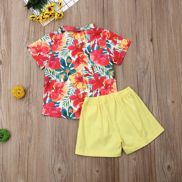 Beach Clothes Set Summer Flower Shirts + Yellow Shorts Boys Costumes