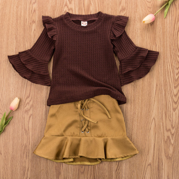 Baby Girl Coming Home Outfit Set Knitted Long Sleeve Ruffles T-shirt Mini Skirt Baby Girl First Birthday Outfit