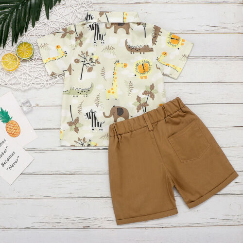 First Birthday Outfit Boy Set Animal Cartoon Shirt Tops+Short Baby Boy Coming Home Outfit