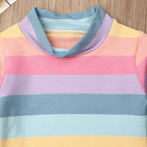 Toddler Kids Baby Girl Clothes Sets Color Stripe T-shirt Tops+Skirt Outfit Cheap Girls Dresses 1-6Y