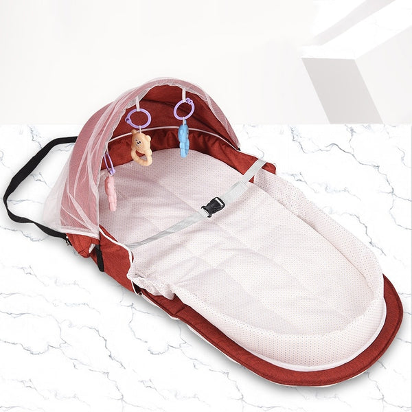 Portable Toddler Bed Baby Bed Travel Sun Protection Mosquito Net With Portable Bassinet Baby Foldable Breathable Infant Sleeping Basket Kids Portable Bed