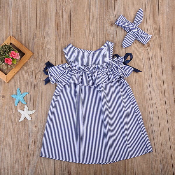 Baby Girl Dresses Off-shoulder Bow Striped Dress+ Headband First Birthday Outfit