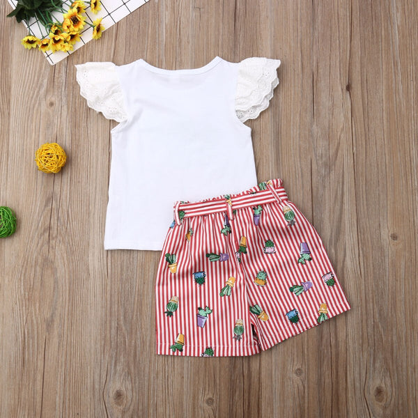 Baby Girl Coming Home Outfit Set Flower Cactus Lace T shirts + Bow Shorts Girls First Birthday Outfit