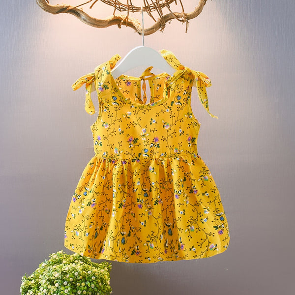 Baby Girl Dresses Sleeveless Ribbons Bow Princess Dresses Floral Print Baby Girl First Birthday Outfit