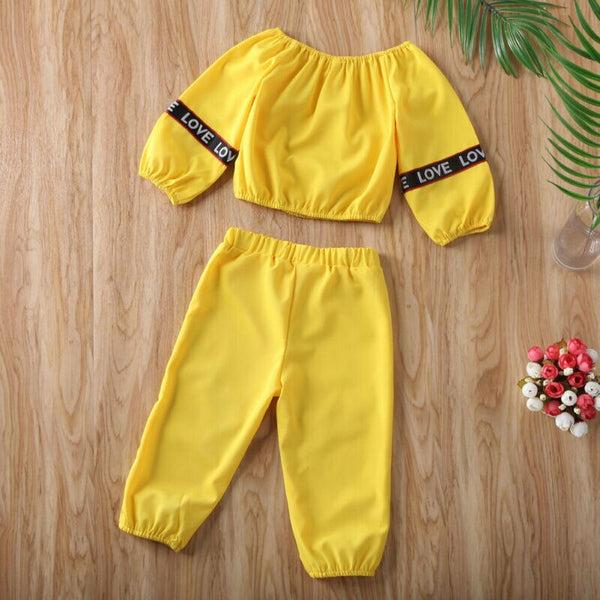 Baby Girl Coming Home Outfit Set Off Shoulder Long Sleeve Crop Tops + Pants Spring Summer First Birthday Outfit Girl