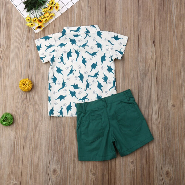 Toddler Boy Easter Outfit Summer Clothes Dinosaur Tops Shorts Pants Outfit Set