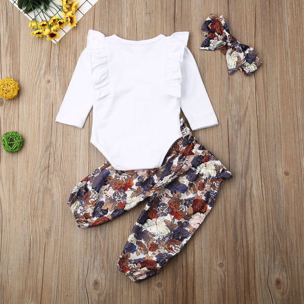 Baby Girl Coming Home Outfit Set Ruffles Long Sleeve Romper Floral Pants Headband Baby Costumes For Girl