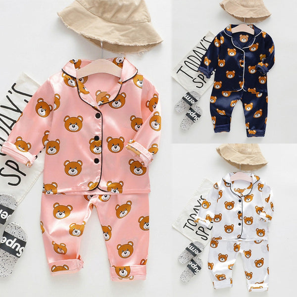 Baby Girl Outfits Long Sleeve Cartoon Bear Tops+Pants Pajamas Sleepwear Coming Home Outfit For Baby Girl