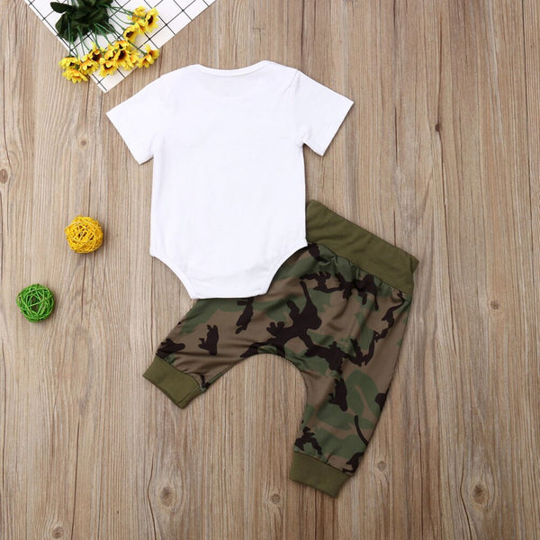 Boys Costumes Set Fanny Letter Print Short Sleeve Baby Romper + Camo Pants Baby Boy Coming Home Outfit