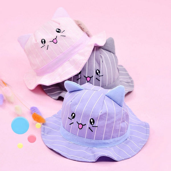 Baby Girl Hats Spring Summer Cute Floral Cat Ears Baby Bucket Hat