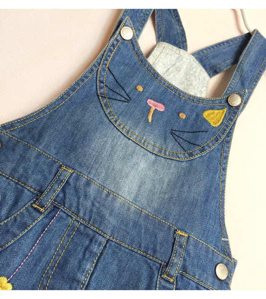 Overall Pants Girl Cute Cats Girls Denims Suspender Overalls Girl 2-8Year