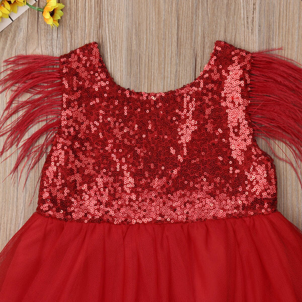Princess Costumes For Kids Red Dress For Girl Party Wedding Baby Girl Birthday Dress
