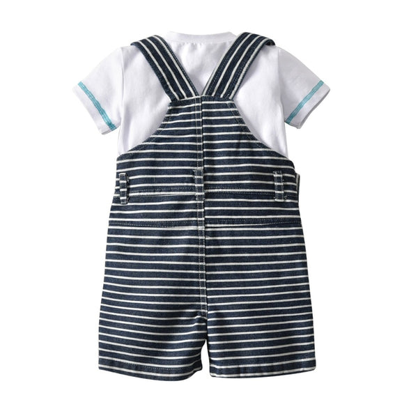 Baby Boy Clothes Gentleman White Rompers + Cap + Bib Short Striped Clothing Set Baby Suit