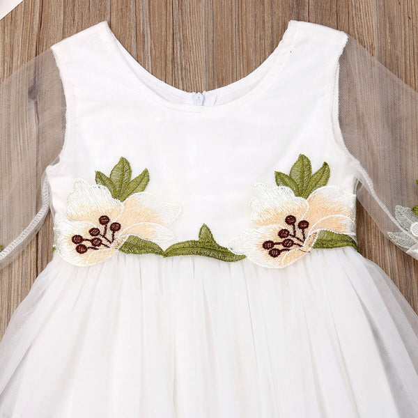 Birthday Outfits For Girls Flower Girl Dress Tulle Party Gown Bridesmaid Dresses Long Sleeves Princess Dress For Kids