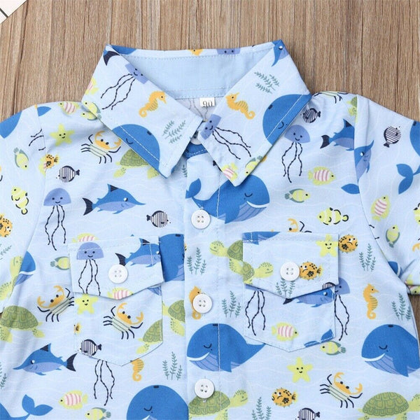 Funny Kids Costumes Set Whale Print T-shirt Shorts Pants Outfit School Boys Costumes