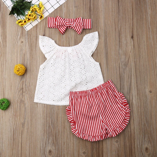 Baby Girl Coming Home Outfit Set Lace Bow Sleeveless T shirts + Striped Shorts + Headband First Birthday Outfit Girl