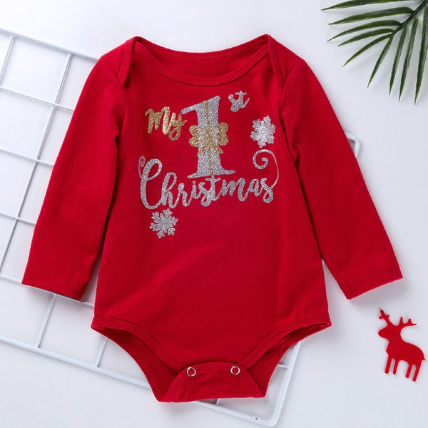 Christmas Newborn Baby Girls Clothes Romper Baby's First Christmas