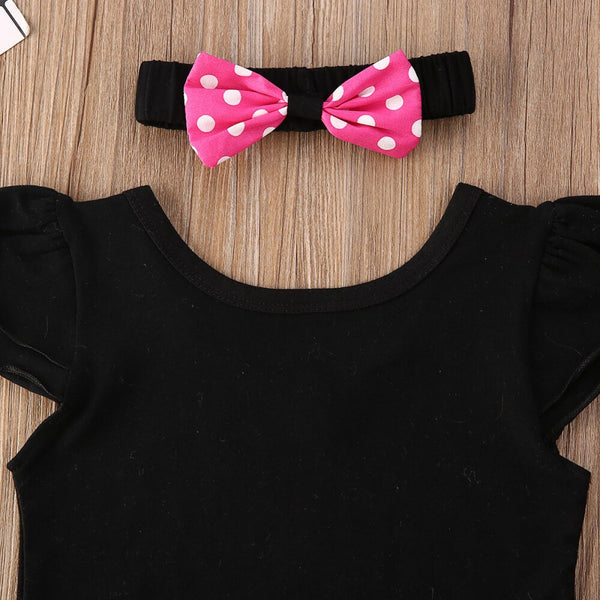 Baby Girl Coming Home Outfit Set Black Sleeveless Romper+ Bow Strap Dress + Hairbow First Birthday Outfit