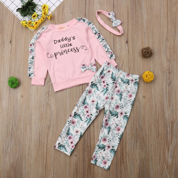 Baby Girl Fall Outfits Ruffles Long Sleeve Floral T-shirt Tops+Pants+Headband Baby Girl Clothes Sale