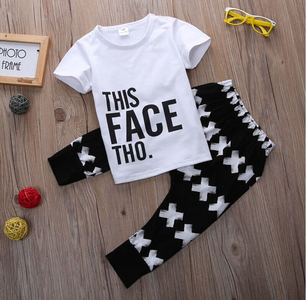 Baby Boy Going Home Outfit Tops + Harem Letter White Cotton Pants 2pcs Set Boys 0-5Y
