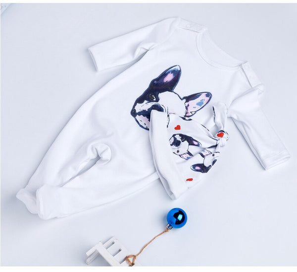 Baby Overalls Bulldog Long Sleeve Rompers Clothing Cotton Dog Anima 2020 New Autumn/Winter Baby Rompers