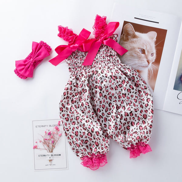 Baby Girl Outfits Romper Baby Lace-up Bloomer Jumpsuit Infant Flower Print Polyester Baby Girl Rompers
