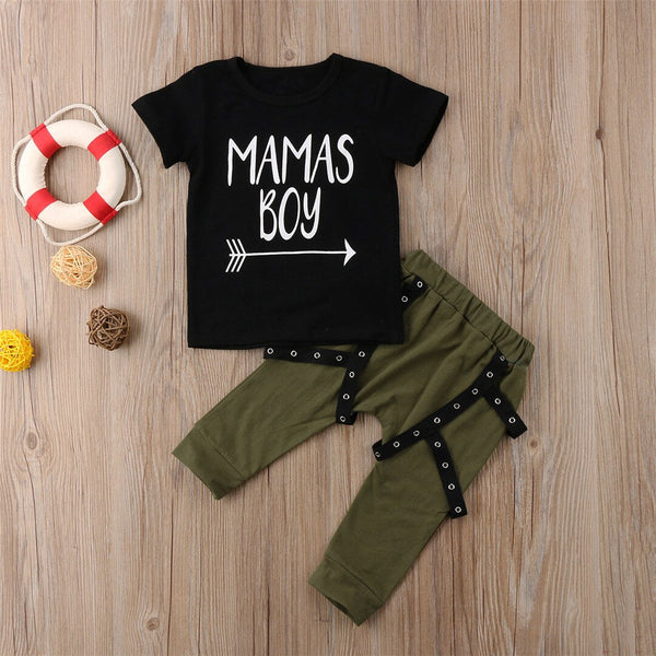 First Birthday Outfit Boy Soft Baby Boy Mama's boy Set T-shirt Tops & Harem Pants Baby Boy Coming Home Outfit