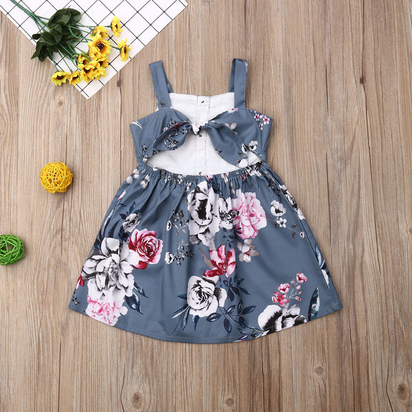 First Birthday Outfit Casual Sleeveless Flower Princess Dress For Kids