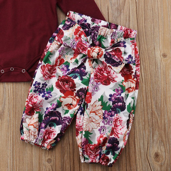 First Birthday Outfit Girl Romper +Floral Pants +Headband Baby Coming Home Outfit
