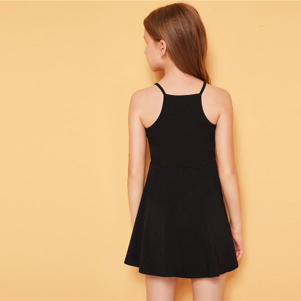 Girls Black Dress Sleeveless High Waist Casual Short Dresses For Kids 6-12T