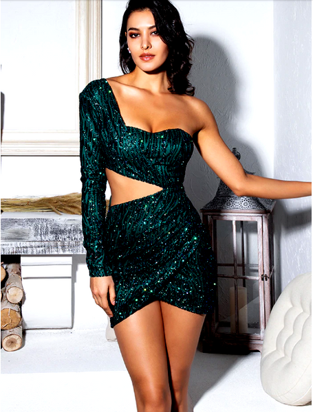 Party Dresses Sexy Green Cut Out Single Sleeve Glitter Glue Bead Material Bodycon