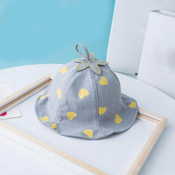 Baby Bucket Hat Spring Summer Heart Floral Baby Girl Hats