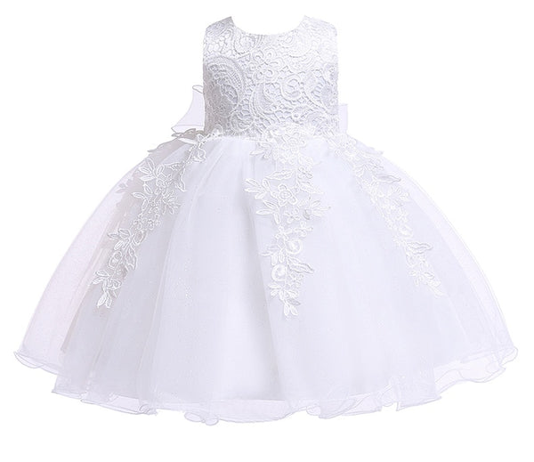 Newborn Baby Girls Christening Dresses Infant Toddler Baptism Gown Children Wedding Party White First Birthday Outfit
