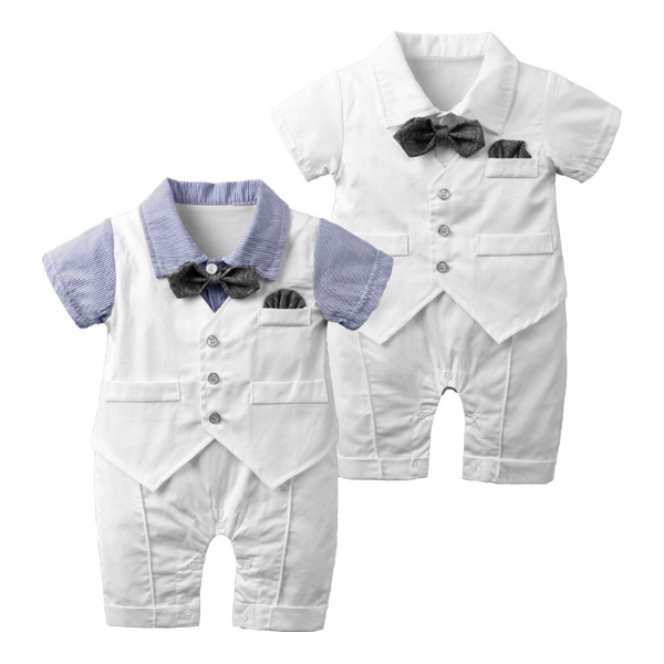 Newborn Baby Boys Clothes Sets Christening Formal Party Bodysuits Outfits Gentleman Short Sleeve Summer Outwear Suits