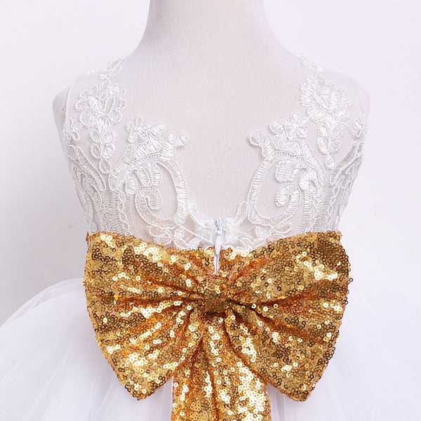 Baby Girl Dresses Dress Princess Lace Bow Sequins Wedding Party 1st Birthday Outfit