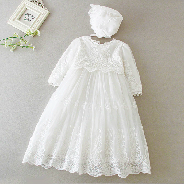 Baptism Dresses For Girls Long Sleeve/Sleeveless