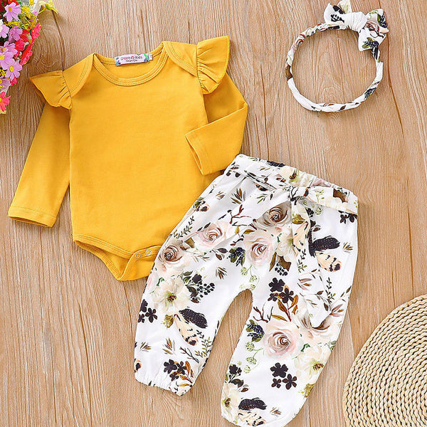 First Birthday Outfit Girl Long Sleeve Romper Tops+Pants Leggings Headband Baby Coming Home Outfit