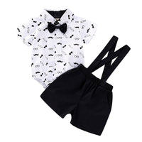 2020 Cute Baby Boy Clothes Gentleman Beard Short Sleeve Romper and Shorts Suspenders Strap Set First Birthday Outfit Boy