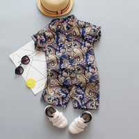 Newborn Baby Boy Set Beach Boy 1 2 3 4 Years Flower Print Shirt Costume For Kids