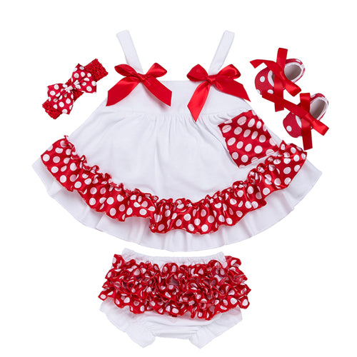 First Birthday Outfit Girl Swing Top Set Polka Dot Swing Ruffled Outfits With Matching Bloomer Headband