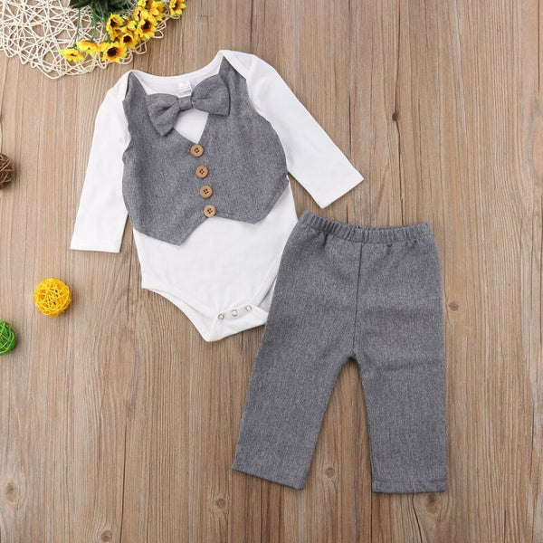 First Birthday Outfit Boy Gentleman Outfits With Bow Toddler Party Wedding Baby Costumes Bodysuits+Pants Baby Coming Home Outfit