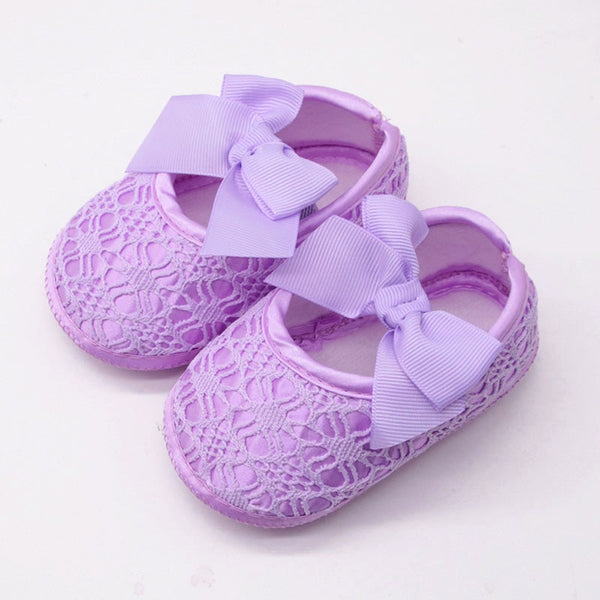 Baby First Walking Shoes Lace Flower Bows Soft Cotton Non-slip Princess Newborn Girl Shoes