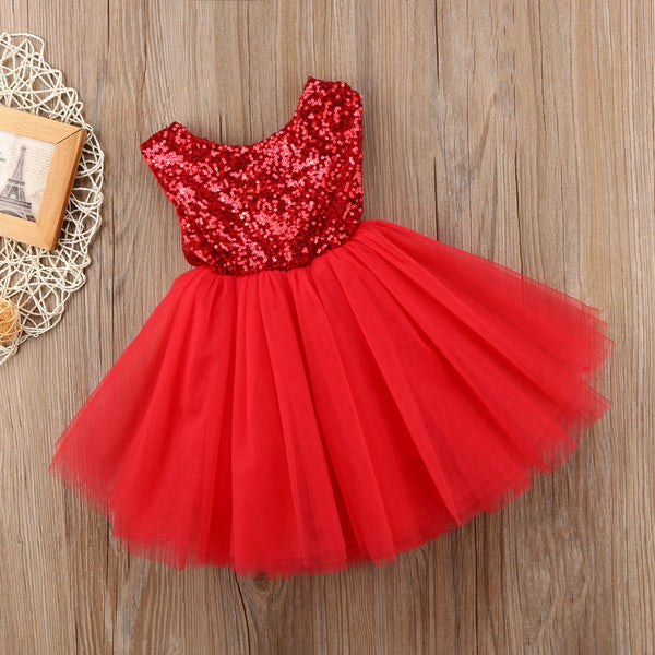Princess Costumes For Kids Wedding Dress Sleeveless Sequins Party Birthday Baptism Dress For Girl Summer Toddler Birthday Dress