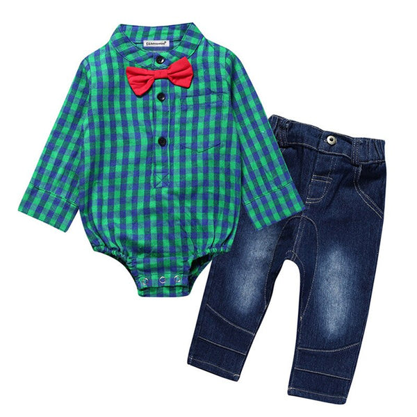 1st Birthday Outfit Boy Sets Gentleman Suits Rompers+Jeans 2 Pcs Long Sleeve Cheap Baby Boy Clothes