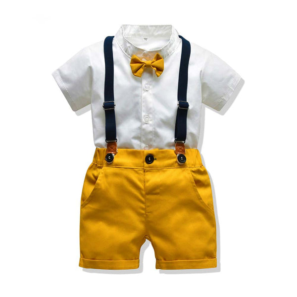 Baby Boy Outfits Shorts Sleeve Tops + Overalls Outfits Summer Cute Baby Outfits